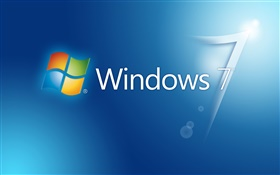 Windows 7 blue background, glare HD wallpaper