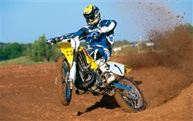 Suzuki motorcycle, racing, jumping HD wallpaper