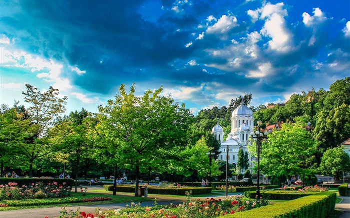Botanical Garden, Romania, trees, houses, clouds Wallpapers Pictures Photos Images