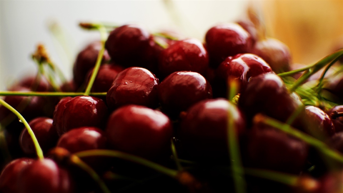 Cherry photography, fruit 1366x768 wallpaper