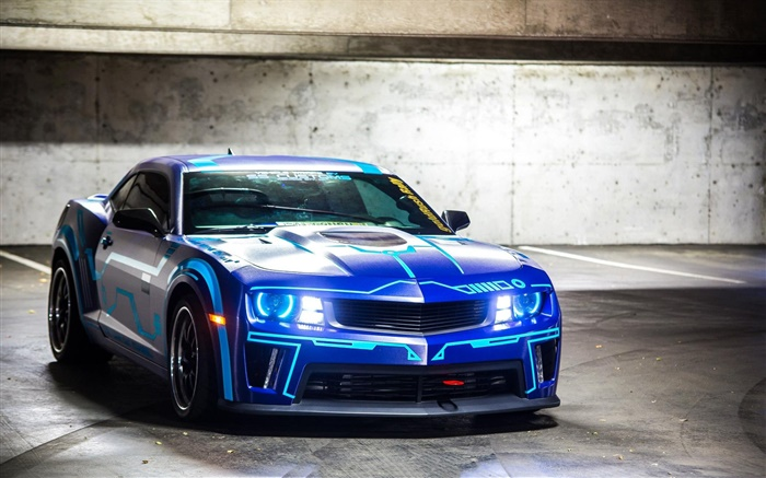 Chevrolet Camaro blue car front view Wallpapers Pictures Photos Images