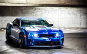 Chevrolet Camaro blue car front view HD wallpaper