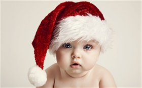 Christmas baby, cute, hat HD wallpaper