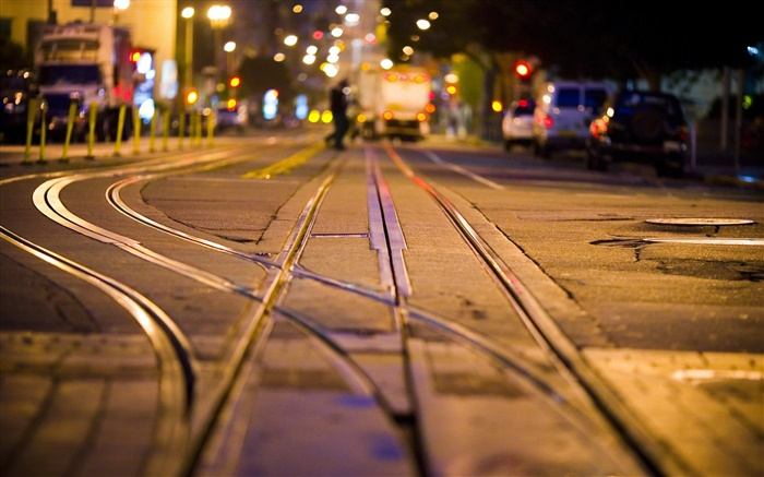 City night, street, rails Wallpapers Pictures Photos Images
