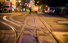 City night, street, rails HD wallpaper
