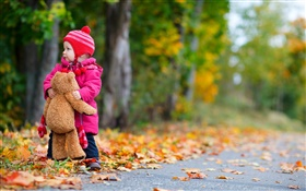 Cute baby and teddy bear in autumn HD wallpaper