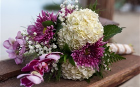 Bouquet flowers, hydrangea and dahlia HD wallpaper
