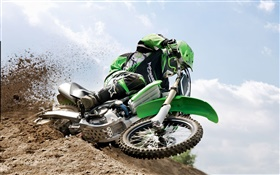 Kawasaki motorcycle, racing, dirt HD wallpaper