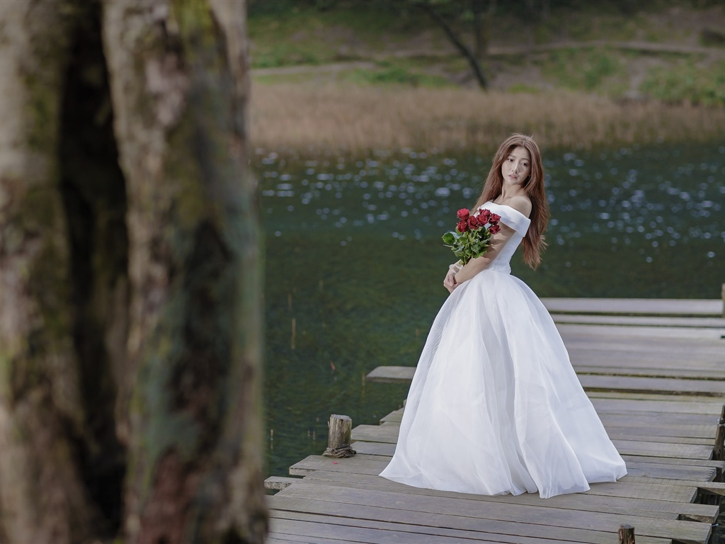 Asian girl, bride, bridge, rose 1024x768 wallpaper