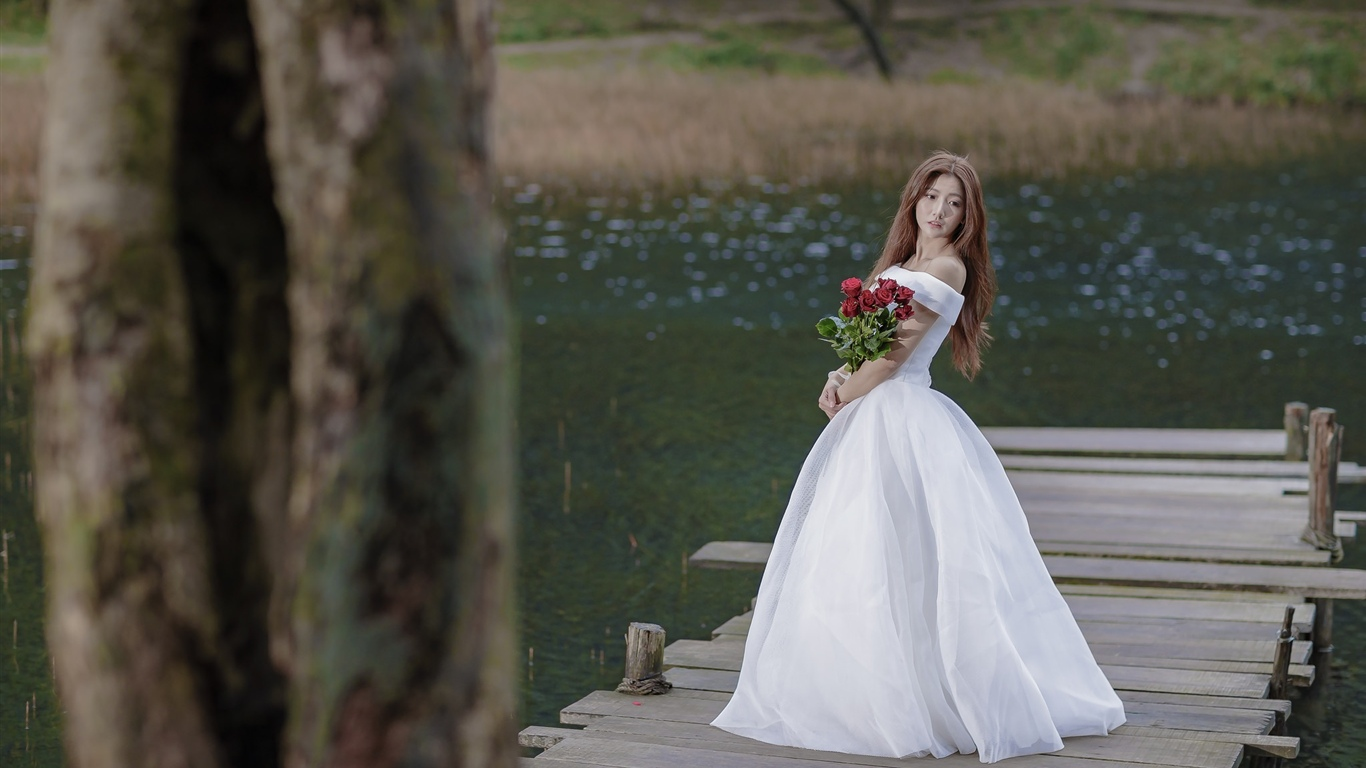 Asian girl, bride, bridge, rose 1366x768 wallpaper