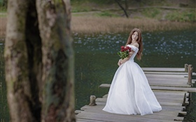Asian girl, bride, bridge, rose HD wallpaper