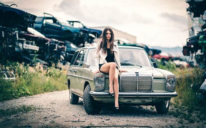 Girl sit on car front Wallpapers Pictures Photos Images