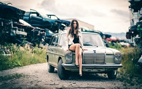 Girl sit on car front HD wallpaper