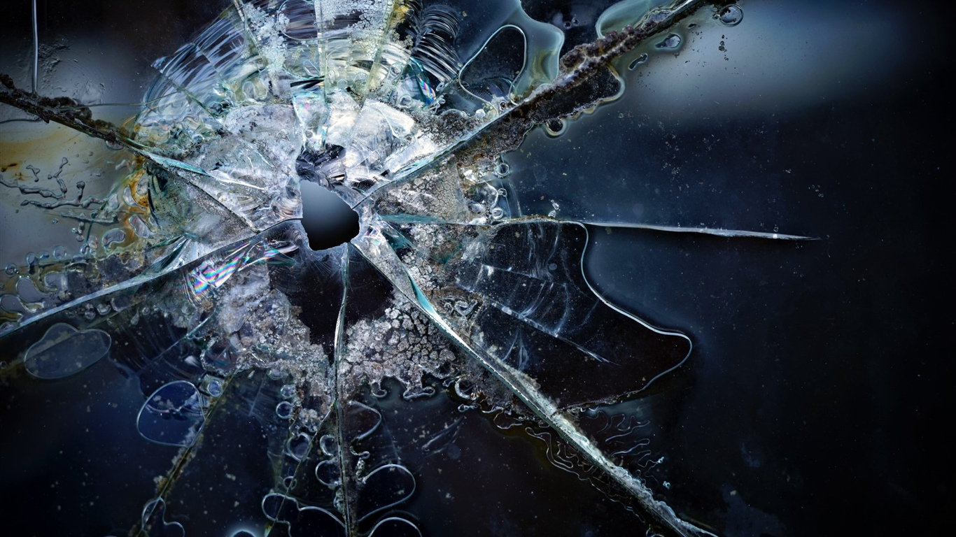 Glass broken 1366x768 wallpaper