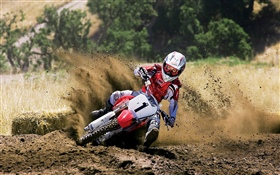 Motorcycle racing, Honda, dirt HD wallpaper