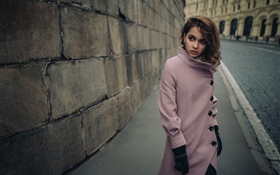 Pink clothing girl, city, street HD wallpaper