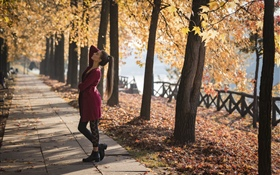 Red dress girl, dance, park, trees, autumn