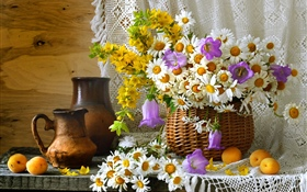 Room decoration, wildflowers, chamomile, apricots