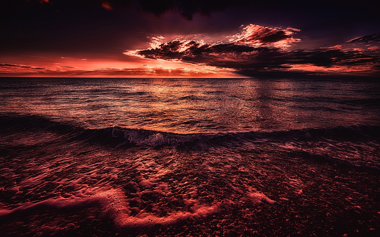 Sea, sunset, evening, red style 1280x800 wallpaper