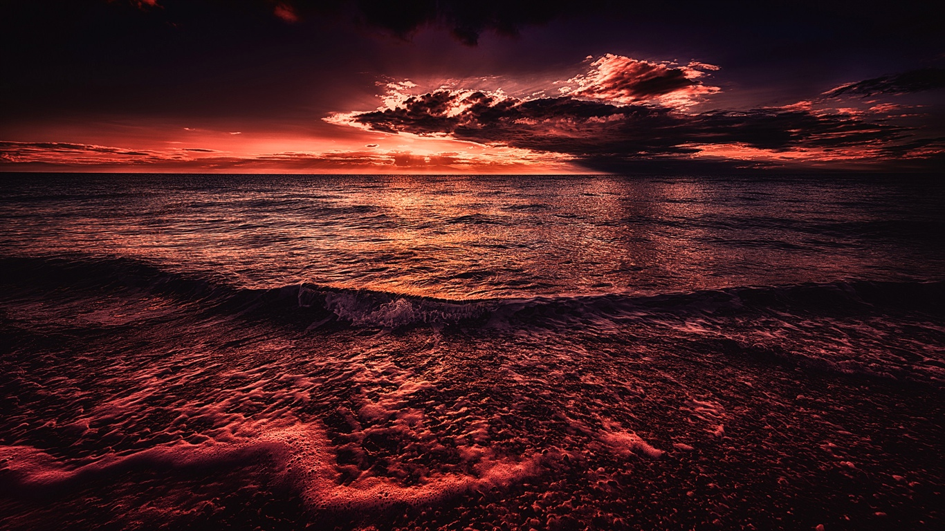 Sea, sunset, evening, red style 1366x768 wallpaper