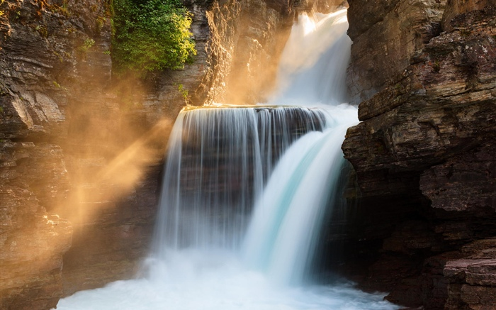 St. Mary Falls, sun rays, Glacier National Park, Montana, USA Wallpapers Pictures Photos Images