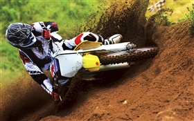 Suzuki motorcycle racing, dirt, drift HD wallpaper