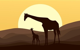 Vector, silhouette, giraffe HD wallpaper