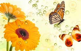 Yellow flowers and butterflies, creative design HD wallpaper