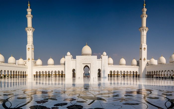 Abu Dhabi, Sheikh Zayed Grand mosque, UAE Wallpapers Pictures Photos Images