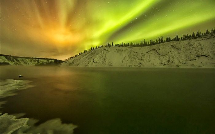 Alaska, Northern lights, lake, snow, winter Wallpapers Pictures Photos Images