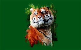 Art painting, tiger, green background HD wallpaper