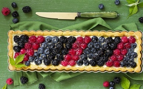 Berries, cake, pie, knife HD wallpaper
