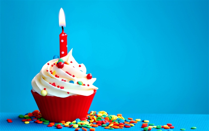 Birthday cake, cream, candle, flame, blue background Wallpapers Pictures Photos Images