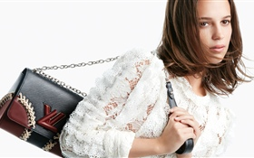 Brown hair girl, handbag HD wallpaper