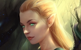 Fantasy girl, elf, green eyes HD wallpaper