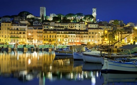 France, Cannes, city, houses, river, boat, lights, night