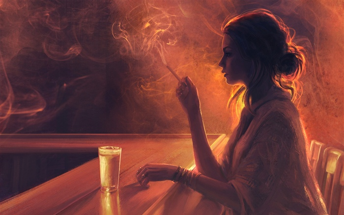 Girl in the bar, cigarette, smoke Wallpapers Pictures Photos Images