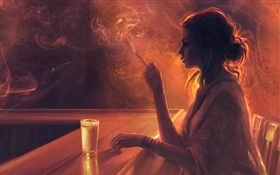 Girl in the bar, cigarette, smoke