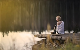 Girl sit at lake side HD wallpaper