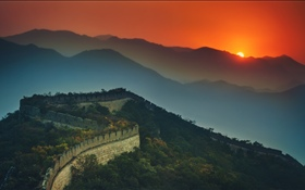 Great Wall, mountains, sunset, dusk HD wallpaper