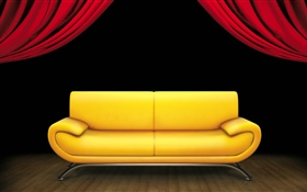 Interior, sofa, curtain