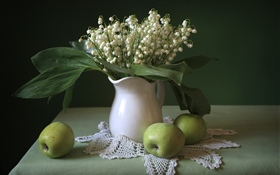 Lilies of the valley, green apples