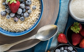 Oatmeal, blueberries, strawberry, breakfast HD wallpaper