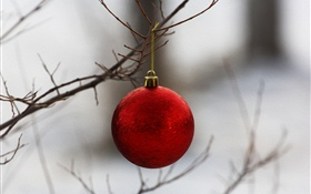 Red Christmas ball, twigs HD wallpaper