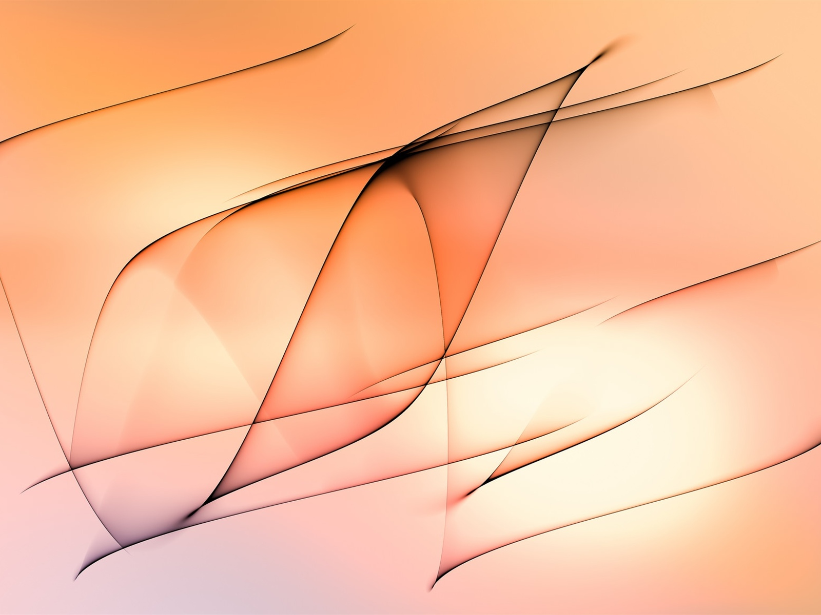 Abstract lines, orange background 1600x1200 wallpaper