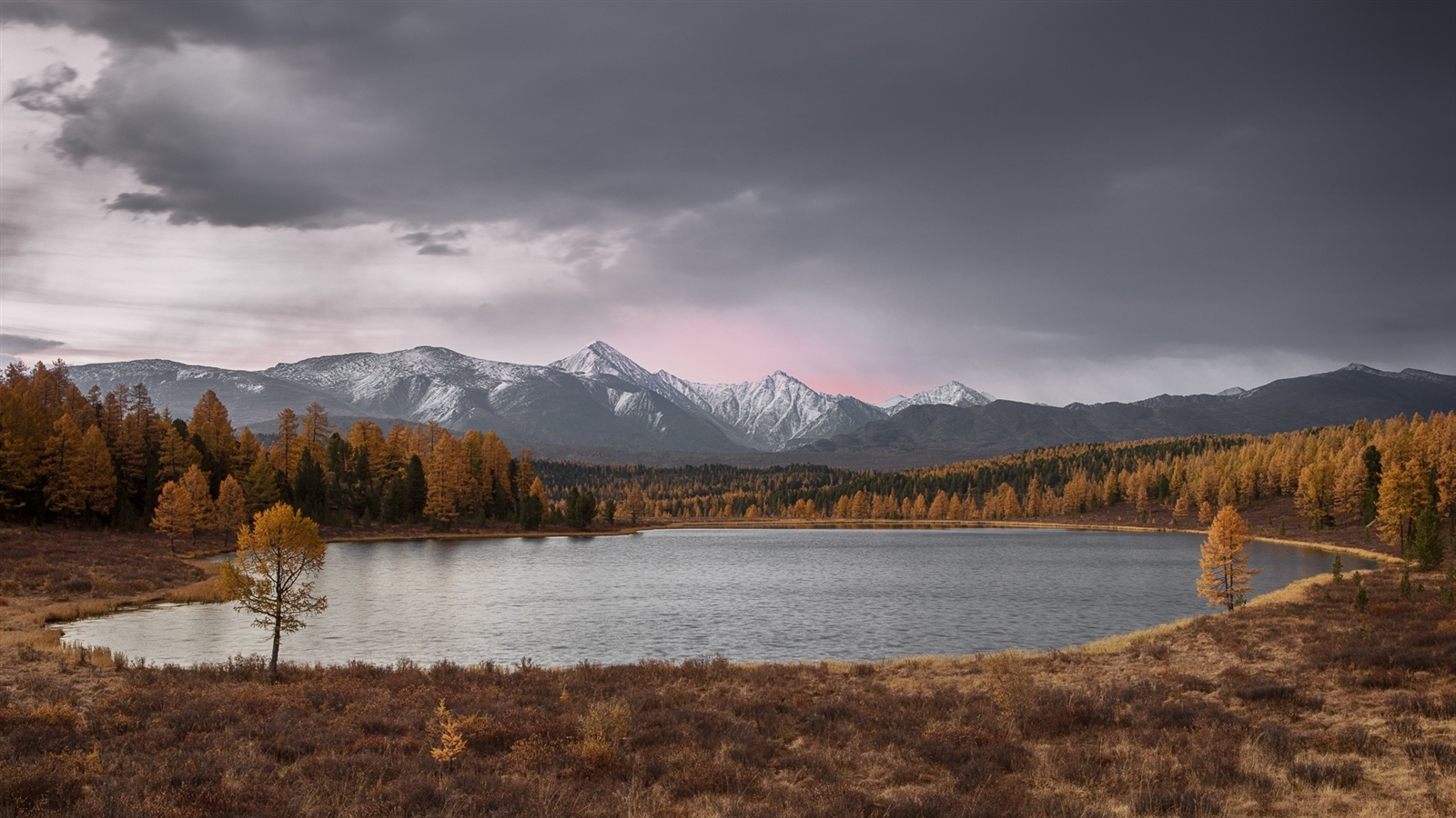 Altay, lake, trees, mountains, autumn 1600x900 wallpaper