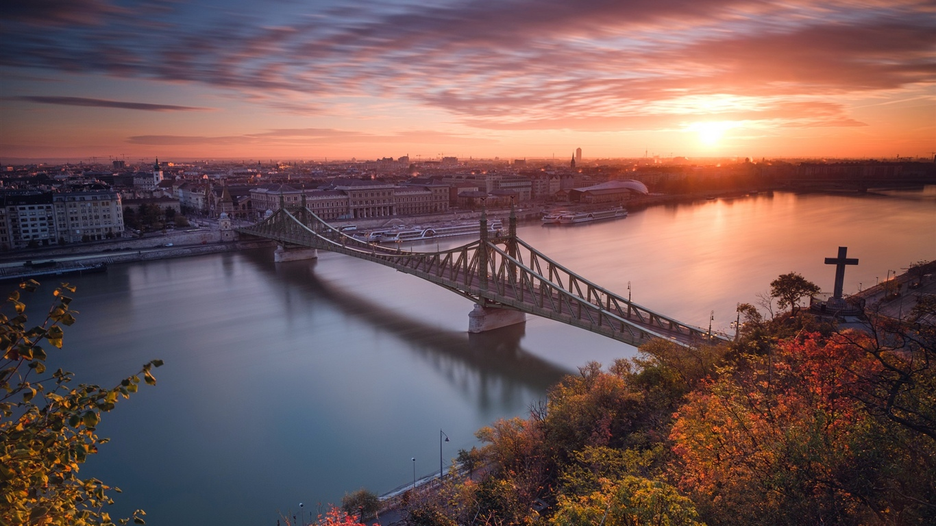 Budapest, Hungary, river, bridge, sunset 1366x768 wallpaper