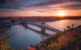 Budapest, Hungary, river, bridge, sunset HD wallpaper