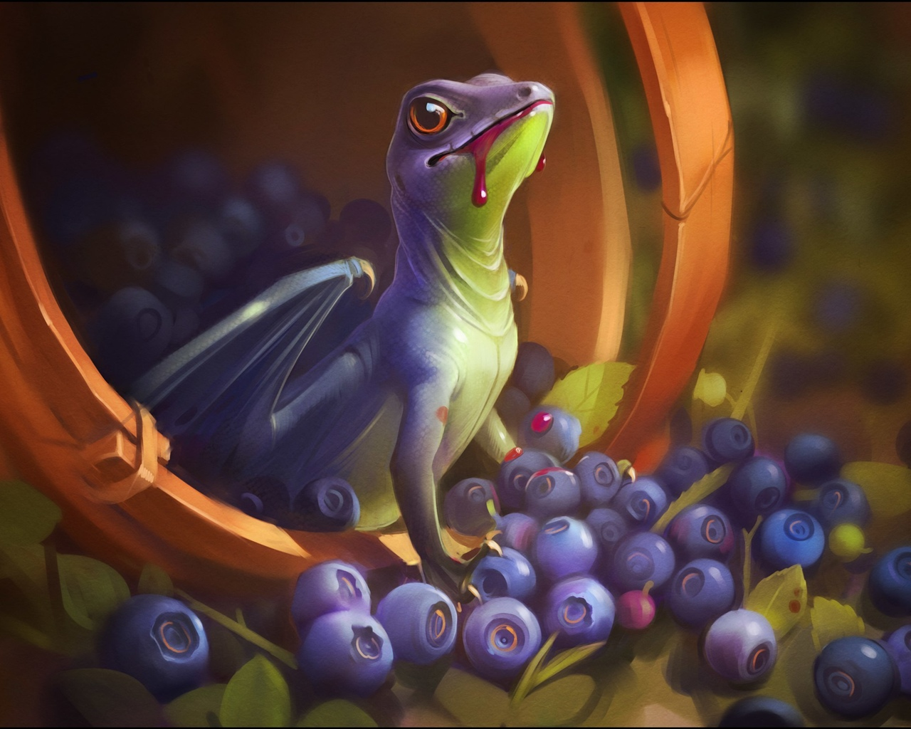 Dragon, wings, blood, blueberry, art picture 1280x1024 wallpaper