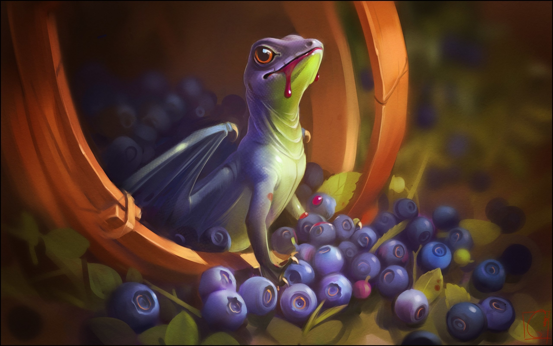 Dragon, wings, blood, blueberry, art picture 1920x1200 wallpaper
